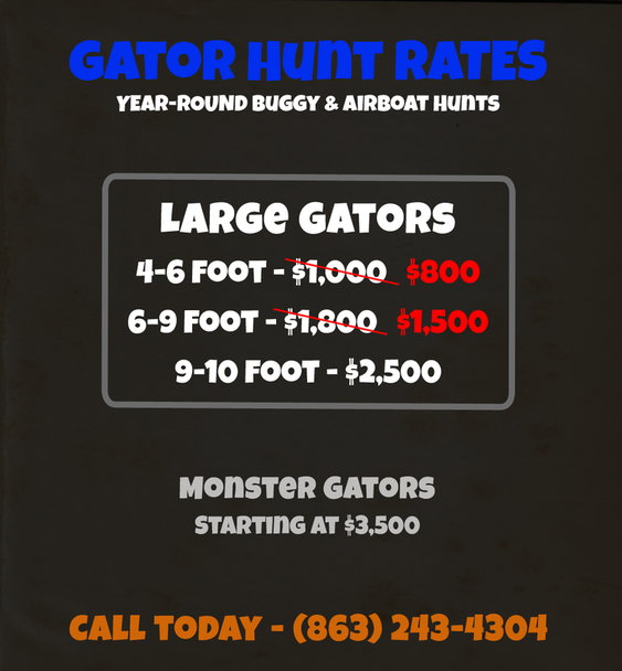 Gator Hunts in Florida - Gator Hunting Pricing